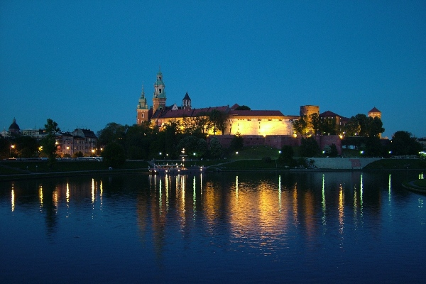 Poland-Krakow at night